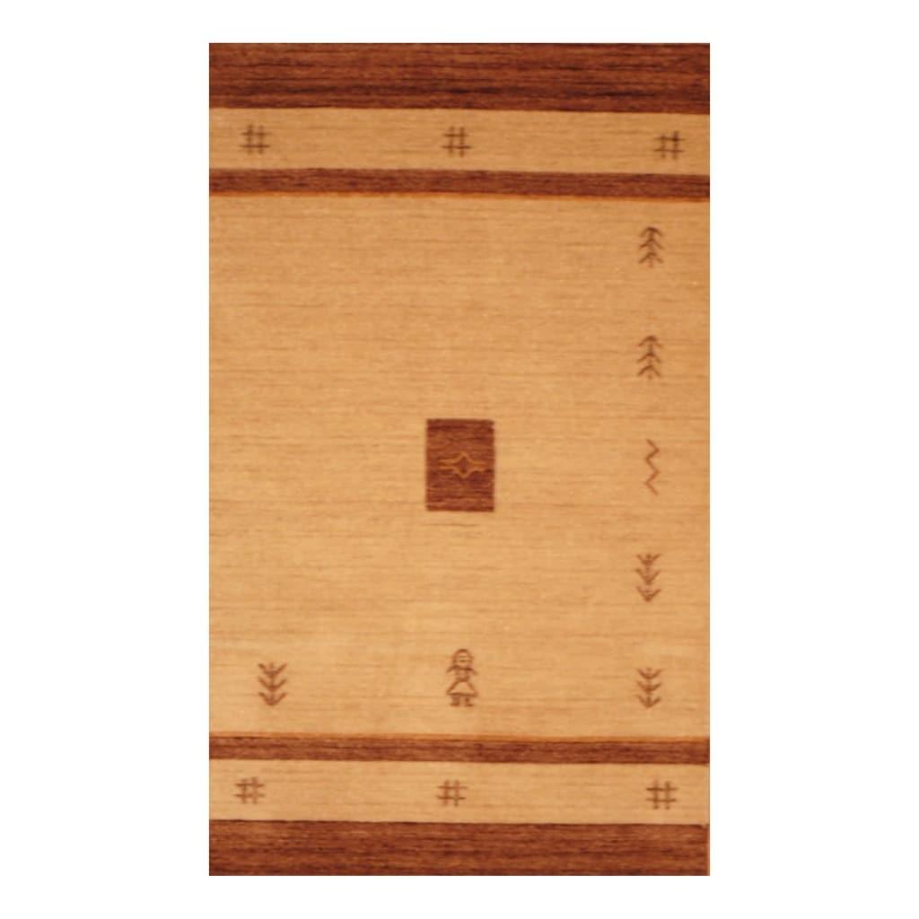 Indo Hand-loomed Beige/ Brown Gabbeh Wool Rug (3' x 5')