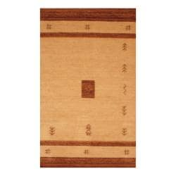 Indo Hand-loomed Beige/ Brown Gabbeh Wool Rug (3' x 5')