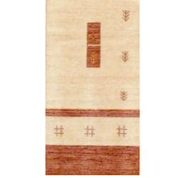 Indo Hand-loomed Beige/ Brown Gabbeh Wool Rug (2'6 x 10')