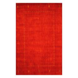 Indo Hand-loomed Red/ Green Gabbeh Wool Rug (4' x 6')