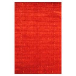 Indo Hand-loomed Red/ Green Gabbeh Wool Rug (6' x 9')