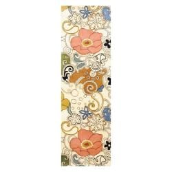 Indo Hand-tufted Ivory/ Olive Wool Rug (2'6 x 8')