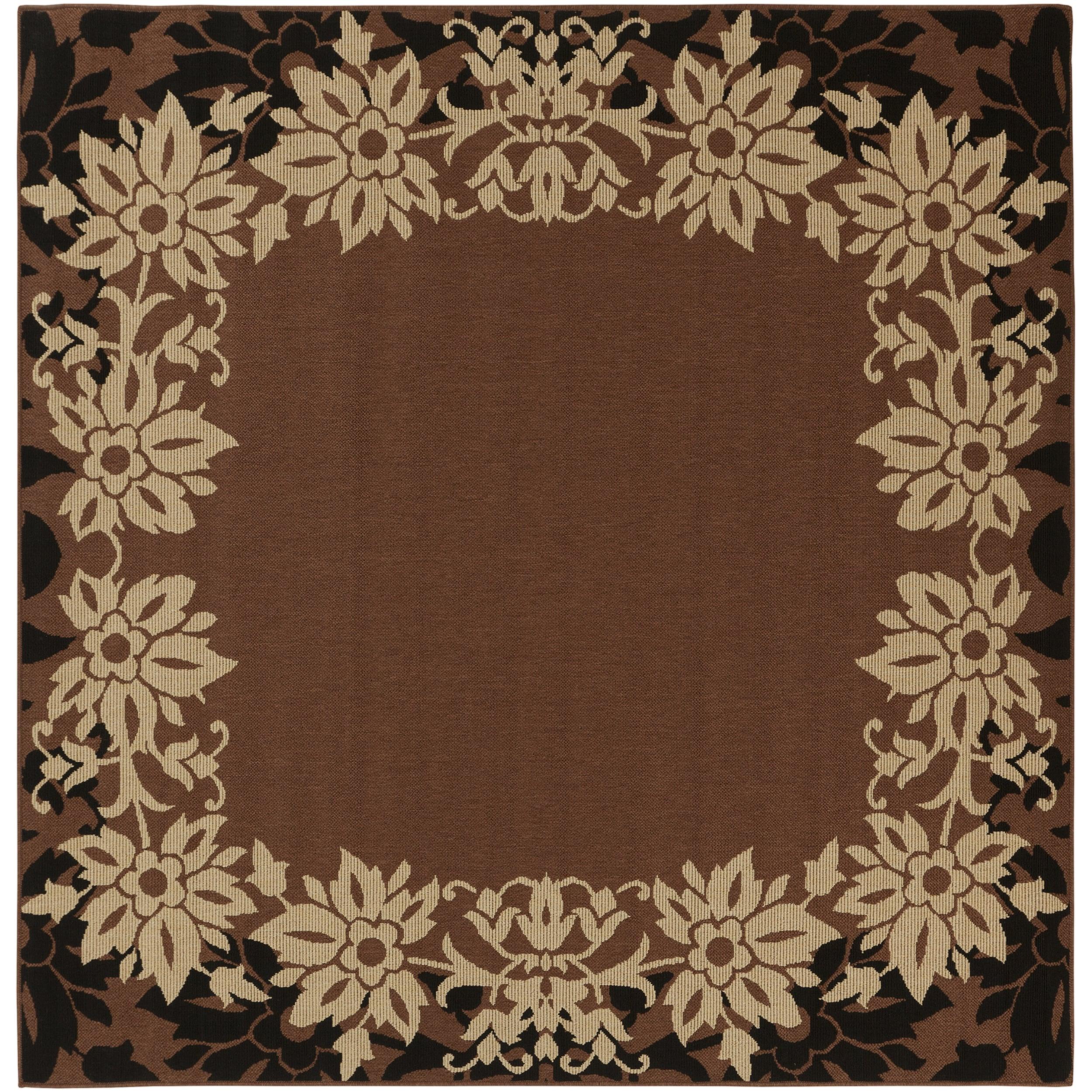 Jamesville Russet Floral Border Indoor/Outdoor Rug (8'9 x 8'9)