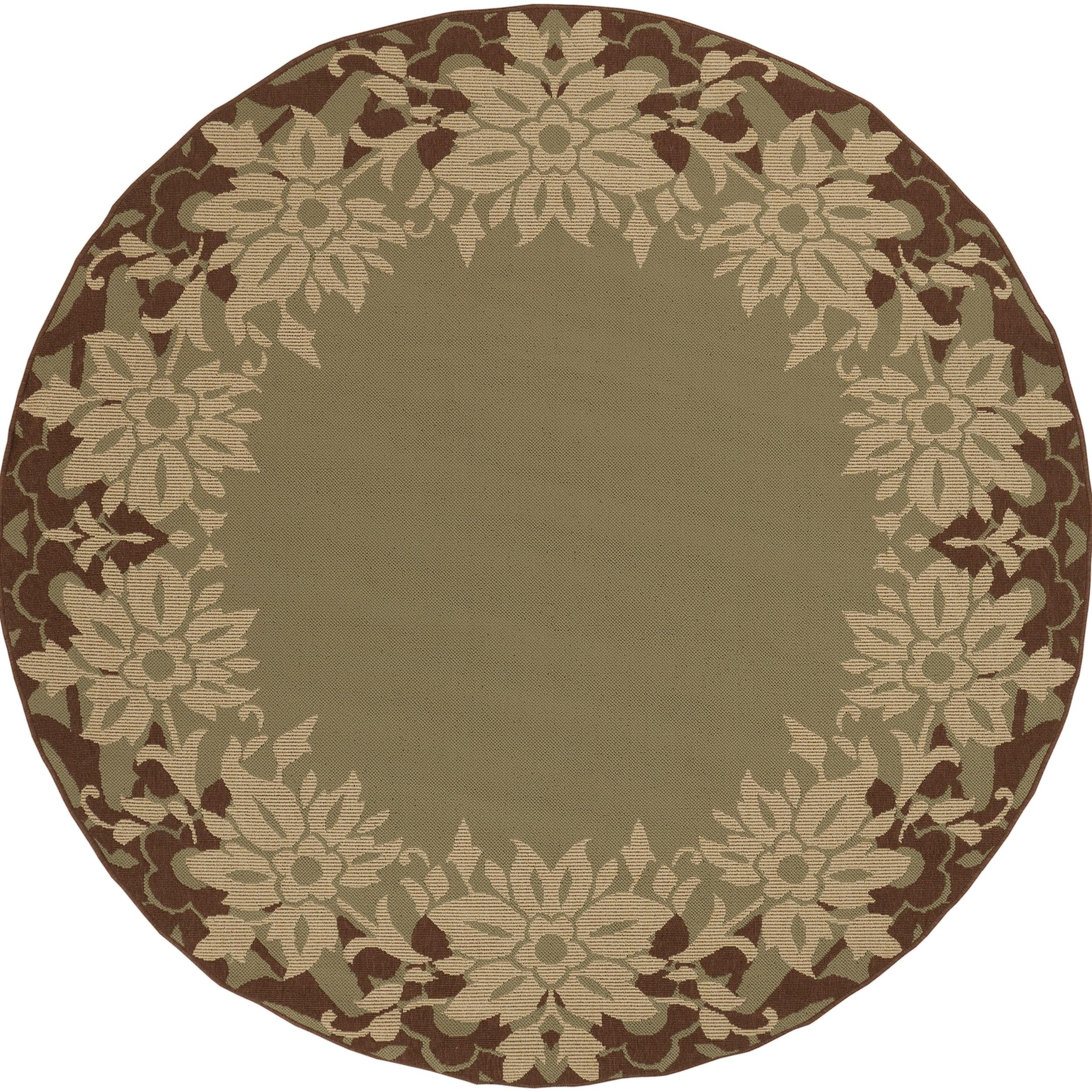 Antimary Russet Floral Border Indoor/Outdoor Rug (8'3 x 7'3)