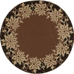 Koror Russet Floral Border Indoor/Outdoor Rug (5'3 x 5'3)