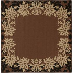 Warsaw Russet Floral Border Indoor/Outdoor Rug (8'3 x 7'3)