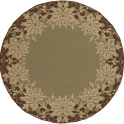Cuzco Russet Floral Border Indoor/Outdoor Rug (5'3 x 5'3)