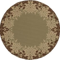 Antimary Russet Floral Border Indoor/Outdoor Rug (8'3 x 7'3)