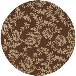 Naples Russet Floral Indoor/Outdoor Rug (7'3 x 7'3)