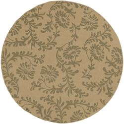 Ardara Khaki Floral Indoor/Outdoor Rug (5'3 x 5'3)