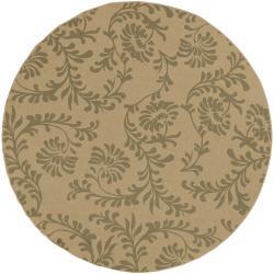 Trieste Khaki Floral Indoor/Outdoor Rug (7'3 x 7'3)