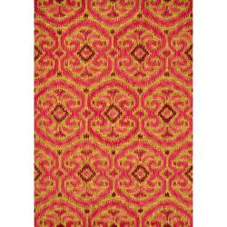 Montague Gold/ Berry Wool Rug (3'6 x 5'6)