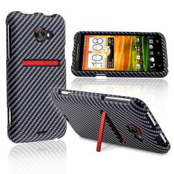 Carbon Fiber Snap-on Rubber Coated Case for HTC EVO 4G LTE