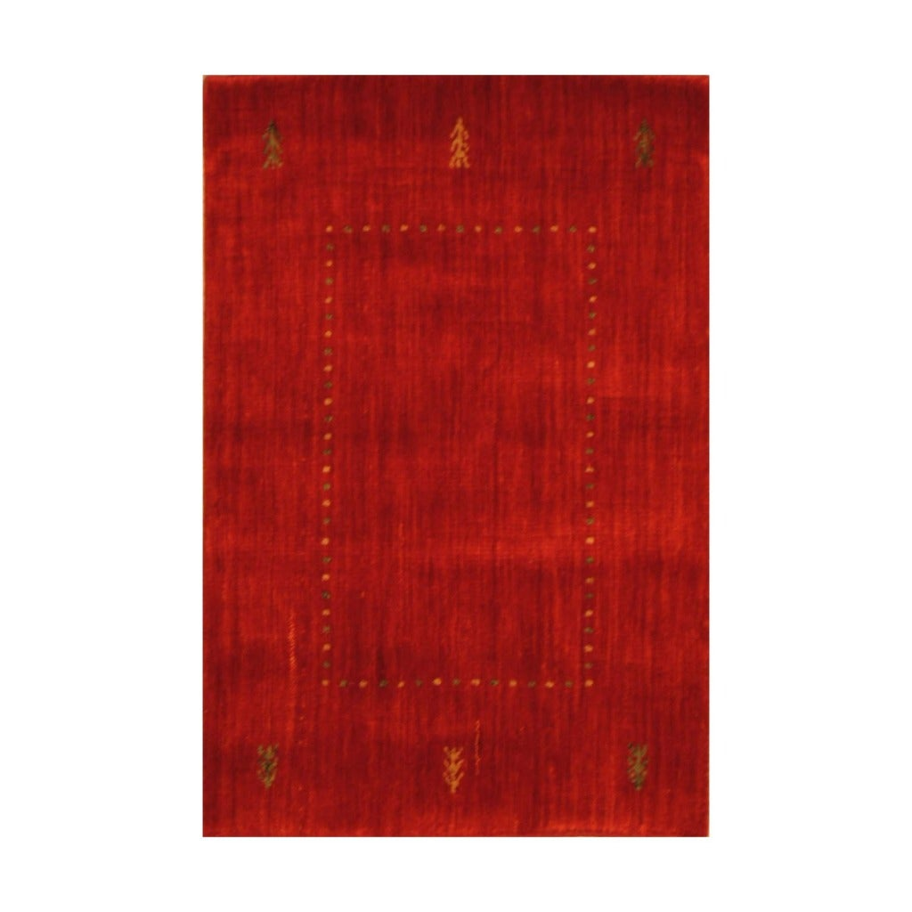 Indo Hand-loomed Red/ Blue Gabbeh Wool Rug (2' x 3')