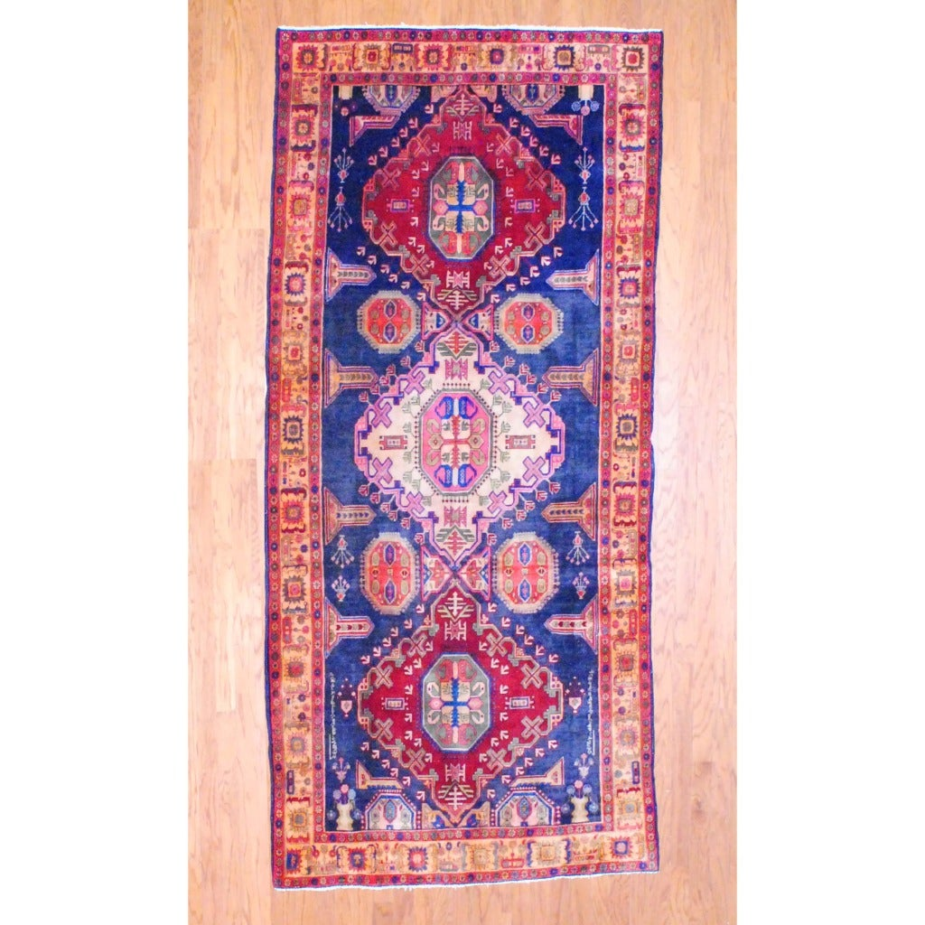 1960s Antique Persian Hand-knotted Tribal Hamadan Navy/ Beige Wool Runner (4'10 x 10'10)