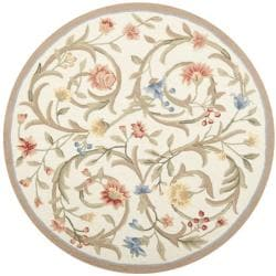 Hand-hooked Garden Scrolls Ivory Wool Rug (8&#39; Round)