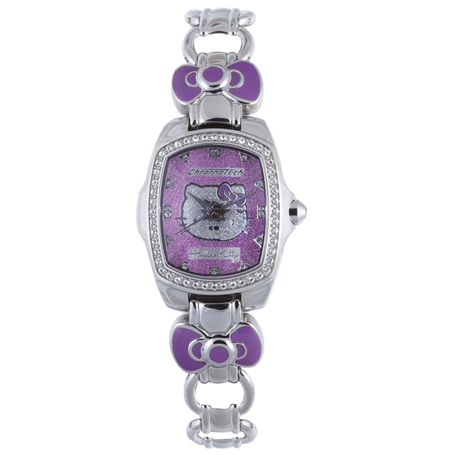 Hello Kitty Kids Purple Dial Gemstone Stainless Steel Watch