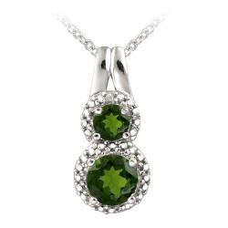 Glitzy Rocks Sterling Silver Chrome Diopside Diamond Accent Drop Necklace (1ct TGW)