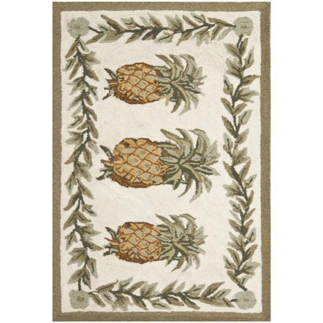Safavieh Hand-hooked Pineapple Ivory Wool Rug (1'8 x 2'6)