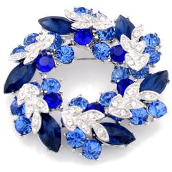 Silvertone Blue Austrian Crystal Base-metal Wreath Pin