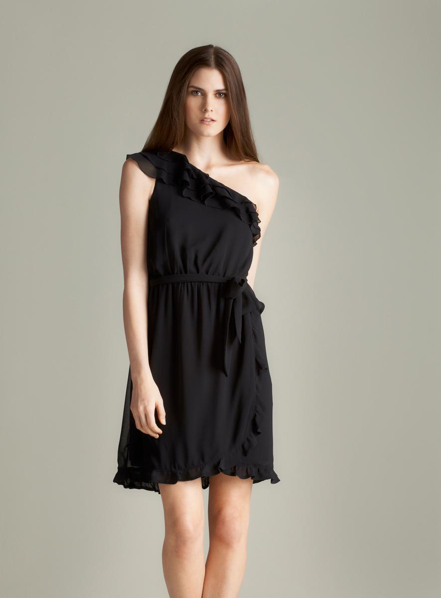 Jessica Simpson Women'S Black One-Shoulder Ruffle