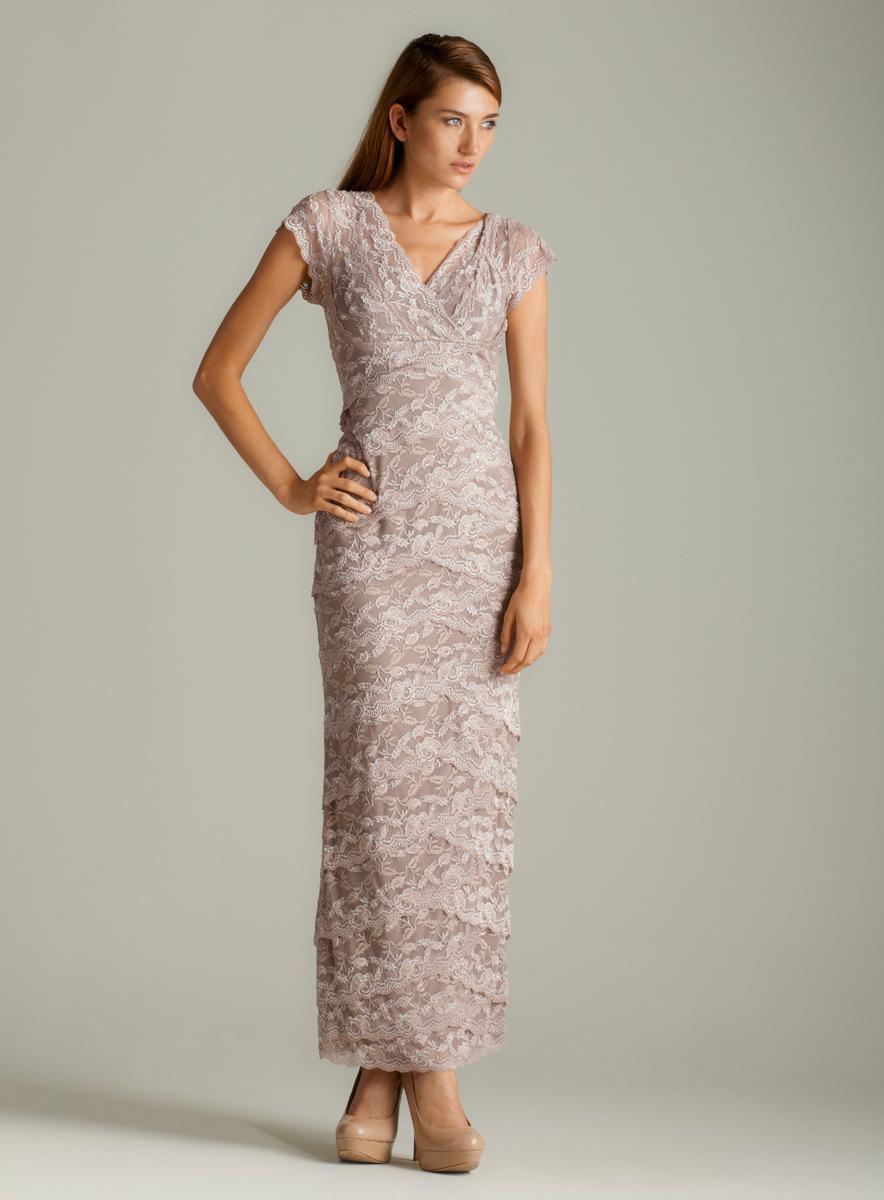 Marina Surplice Lace Long Dress