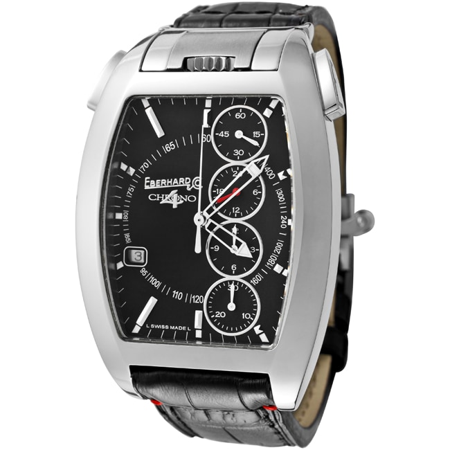 EberHard & Co. Men's 'Chrono 4/Temerario' Black Leather Watch