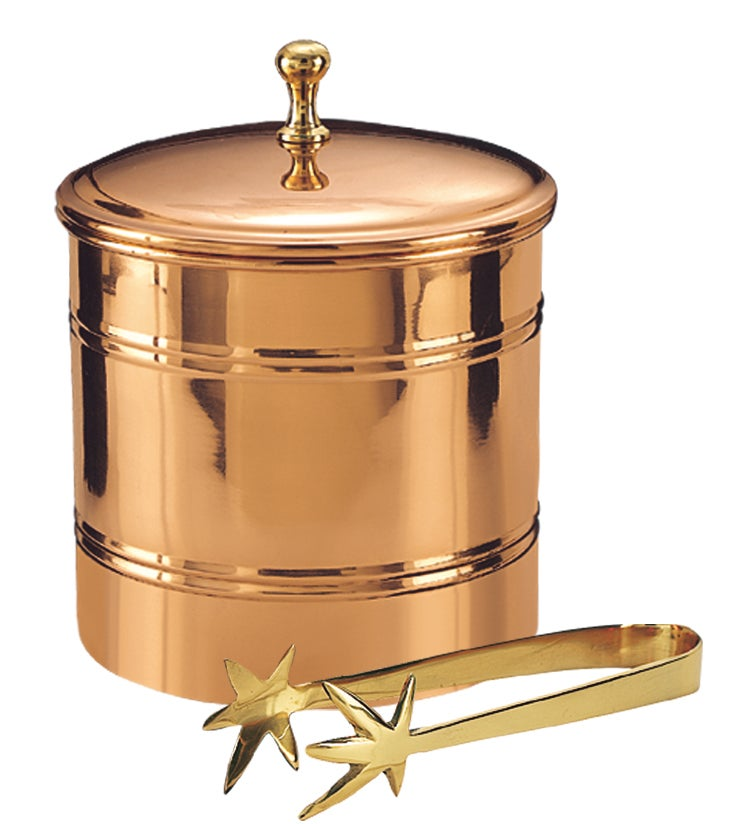 Old Dutch Decor Copper Lined Ice Bucket with Tongs