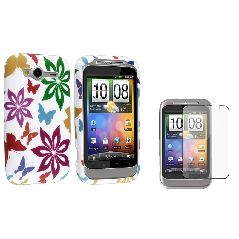 White/ Rainbow TPU Case/ Screen Protector for HTC Wildfire S