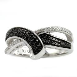 Beverly Hills Charm Sterling Silver 1/4ct TDW Black and White Crossover Diamond Ring (H-I, I2-I3)