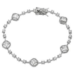 Tressa Sterling Silver White Cubic Zirconia Tennis Bracelet