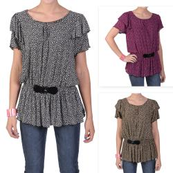 Tressa Designs Women's Contemporary Plus Short-sleeve Scoop Neck Top