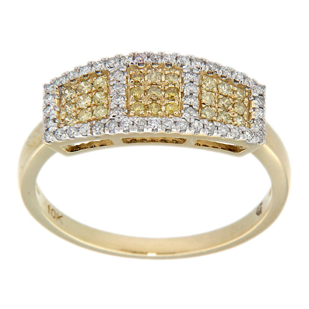 D'sire 10k Yellow Gold 1/3ct TDW Yellow and White Diamond Ring (H-I, I2-I3)