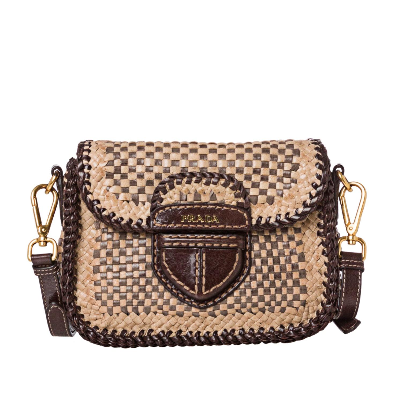 Prada Tan/ Taupe Leather Madras Crossbody Bag - 14516818 ...