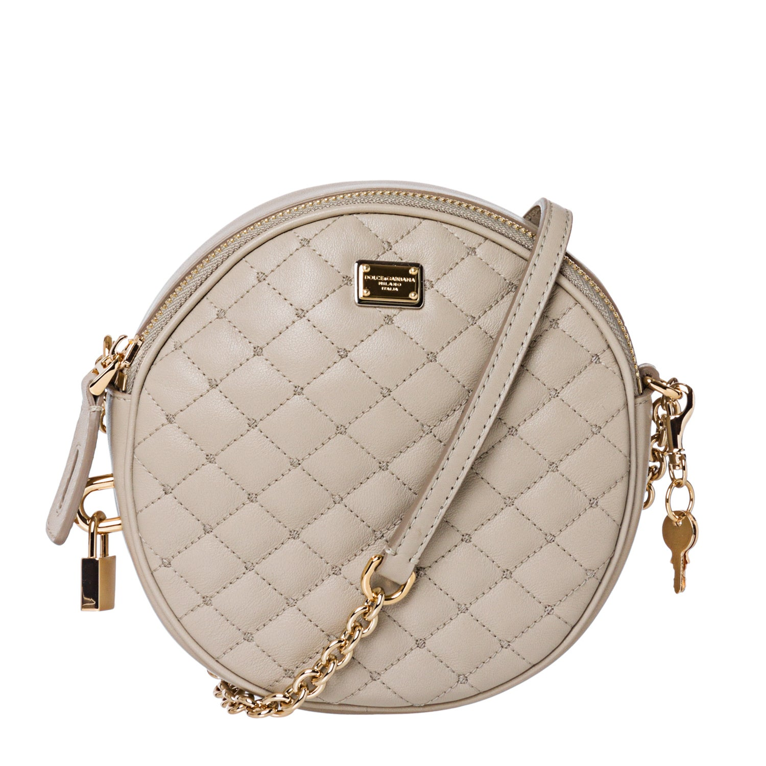 Dolce & Gabbana Taupe Quilted Leather Round Cross-body Bag