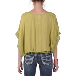 Tressa Designs Women's Contemporary Plus Wide Sleeve Lace Detail Top