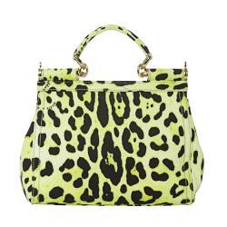 Dolce & Gabbana Miss Sicily Small Green Leopard Canvas Satchel