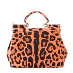 Dolce & Gabbana 'Miss Sicily' Small Orange Leopard Canvas Satchel