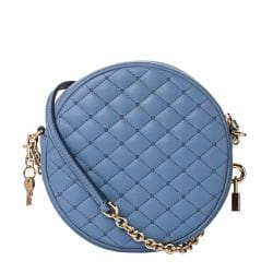 Dolce & Gabbana Baby Blue Quilted Leather Round Cross-body Bag