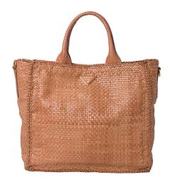 Prada Woven Blush Leather Madras Tote Bag