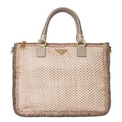 Prada Woven Taupe/ Cream Leather Madras Satchel