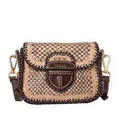 Prada Tan/ Taupe Leather Madras Crossbody Bag