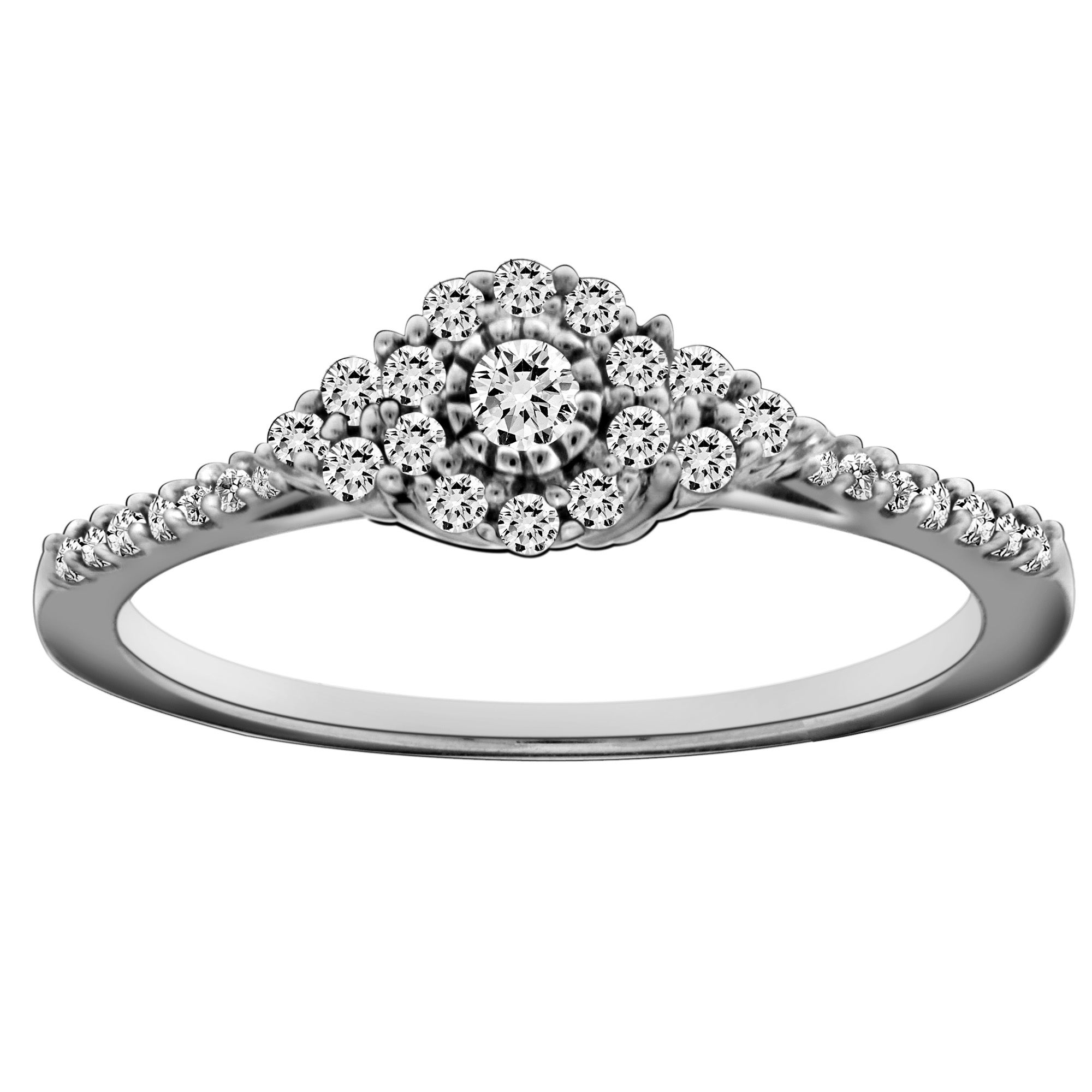 10k White Gold 1/4ct TDW Diamond Halo Ring (H-I, I2-I3)