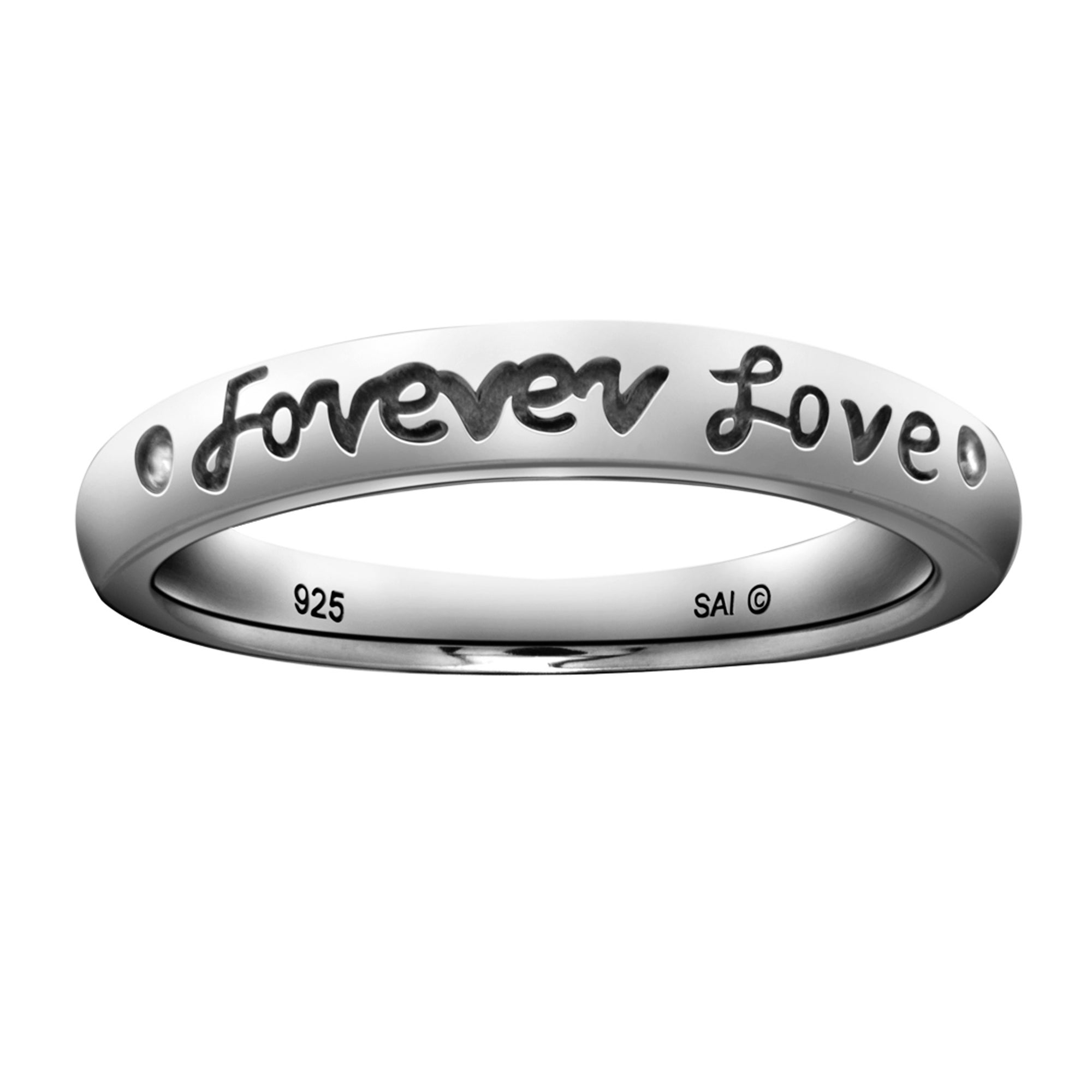 Sterling Silver Diamond Accent 'Forever Love' Ring