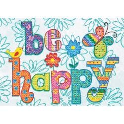"Be Happy Mini Stamped Cross Stitch Kit-7""X5"""