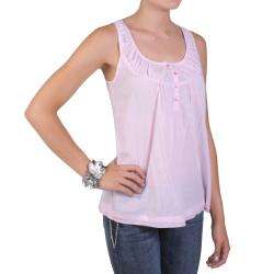 Journee Collection Junior's Sleeveless Scoop Neck Button Detail Top