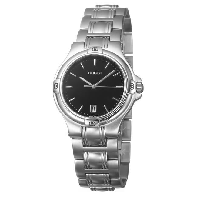 Gucci Men's Stainless Steel Black Dial Watch