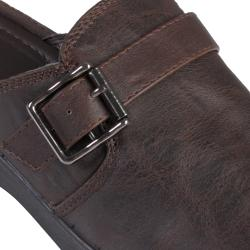 Journee Collection Women's Faux Leather Buckle Detail Clog