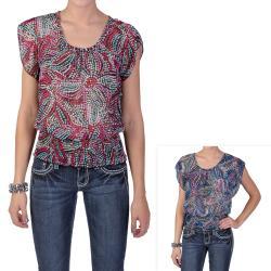 Tressa Designs Women's Short-sleeve Smocked Waist Chiffon Top