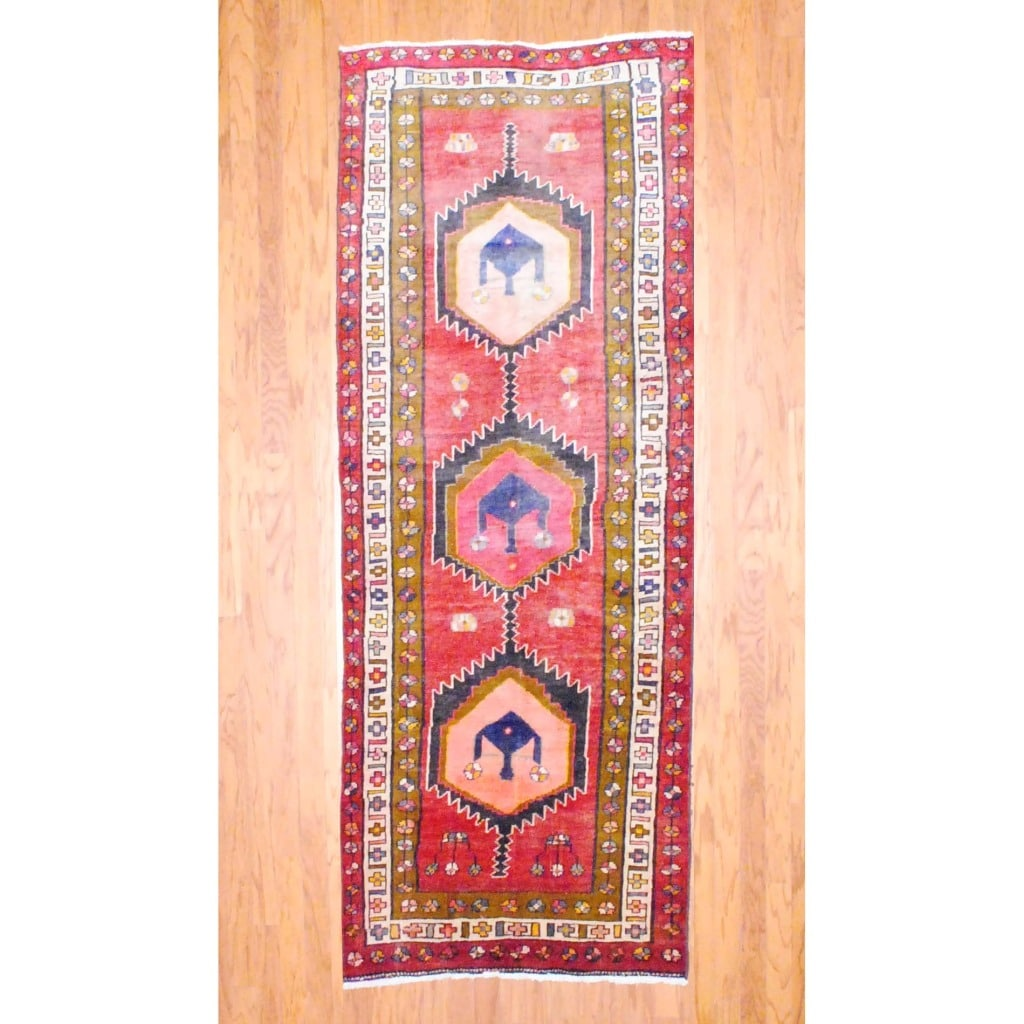 1960s Antique Persian Hand knotted Tribal Hamadan Red/ Ivory Wool